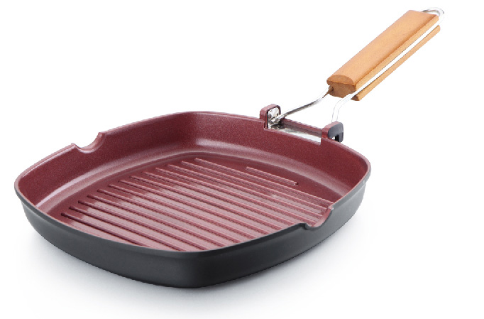 FOLDABLE HANDLE GRILL PAN